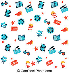 Cinema Icons - cinema design overwhite background vector...