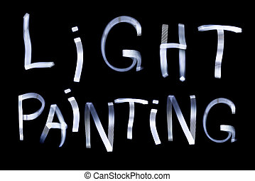 Light Painting words using a LED light panel at night and a...
