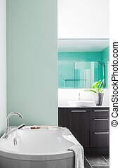 Modern Bathroom using soft Green Pastel Colors - Modern...