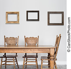 Wooden Dining room table and chair details and blank frames...