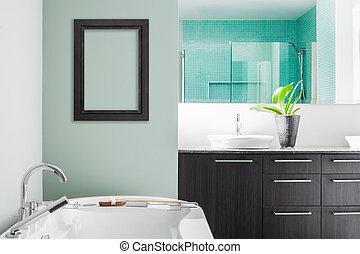 moderno, cuarto de baño, Utilizar, suave, verde,...