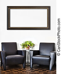 Modern Interior Room and white wall and big empty Painting...
