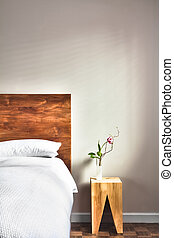 Beautiful Clean and Modern Bedroom with empty wall to add...