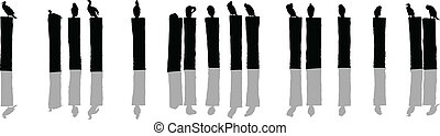 Birds on Posts - Silhouette of a flock of birds sitting on...