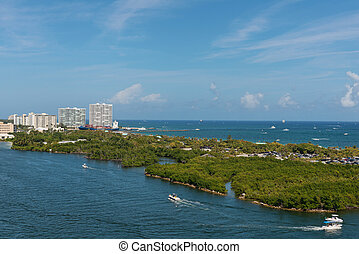Intracoastal Waterway - Boats on the Intracoastal Waterway,...