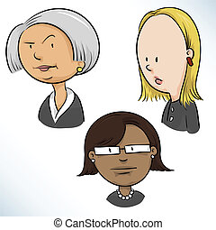 Businesswomen Faces - Three cartoon businesswoman faces