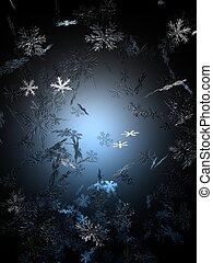 Snowfall - An image of snowflakes falling against a black...