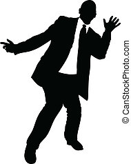 Businessman Dancing - A silhouette of a businessman dancing.