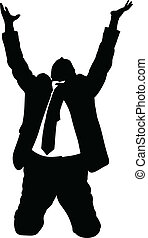 Businessman Begging - A silhouette of a businessman kneeling...