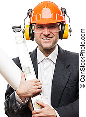 Businessman in black suit and safety hardhat helmet hand holding paper drawings plan and engineer tools white isolated