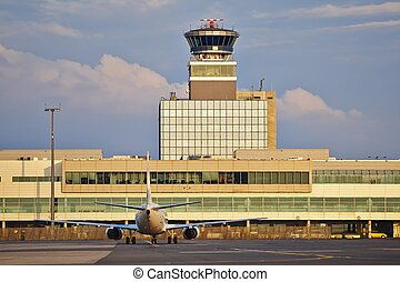 Airport - Airplane is taxiing at the airport - Prague, Czech...