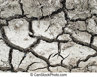 Dryness - Cracked soil represents problems in agriculture.