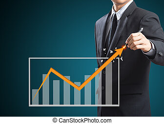 Business growth concept - Businessman drawing a rising...