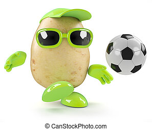 3d Potato soccer - 3d render of a potato playing football