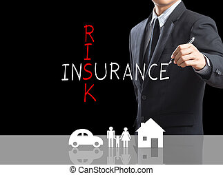 Risk Insurance crossword - Business man writing Risk...