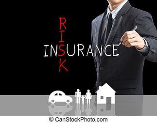 Risk Insurance crossword - Business man writing Risk...