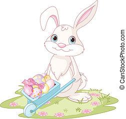 Easter Bunny with wheelbarrow