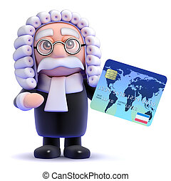 3d Judge credit - 3d render of a judge with credit card