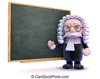 3d Judge teaches law - 3d render of a judge and a blackboard