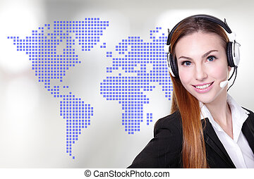 Global customer service worker Business Woman customer...