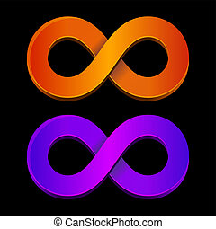 Abstract infinity orange and blue sign. Vector.