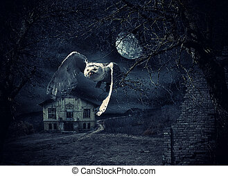 Dark and scary Haunted Mansion with owl in flight at full...