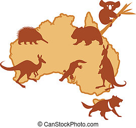 Australis with animals - Vector image of Australis with...