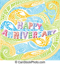 Tiki style Happy Anniversary typography - easy to edit...
