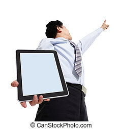 Business man pointing copy space with touch pad