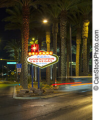 The downtown Las Vegas sign at night - The downtown Las...