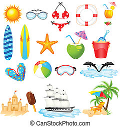 Beach Icon Set - easy to edit vector illustration of Beach...