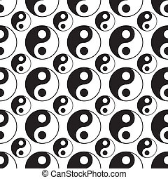seamless of yin yang vector - image of Yin yang symbol...