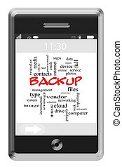 Backup Word Cloud Concept on Touchscreen Phone