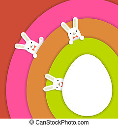 Easter bunnys background - Easter colourful background with...