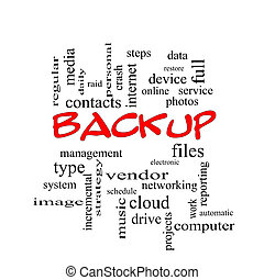 Backup Word Cloud Concept in red caps