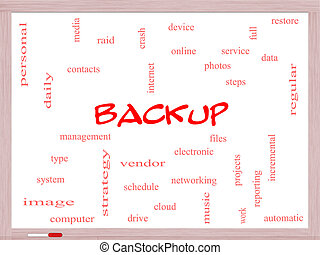 Backup Word Cloud Concept on a Whiteboard