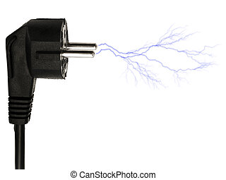 plug - Photo of the black plug lightning over white...