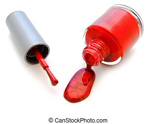 nail varnish - brush for manicure and an inverted bottle of...