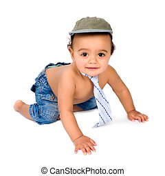 Little baby crawling - Cute African baby boy crawling in his...
