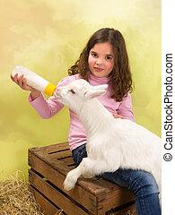Happy girl feeding baby goat