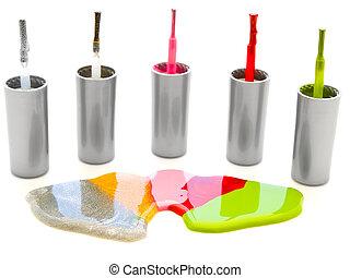 lacquer - photo of the multicolored liquid lacquer over...