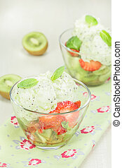 Ice cream - Tropical kiwi ice cream dessert