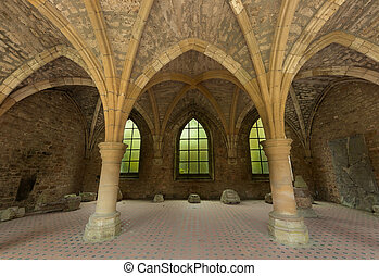 18th century ruins of Orval - Restored arches of the famous...