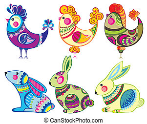Easter  rabbits and chickens - Easter animals