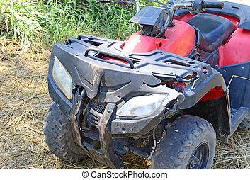 crashed ATV - close up of crashed ATV