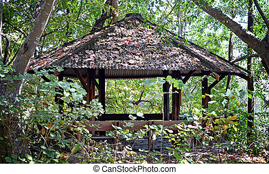 arbour - wooden arbour in the forest