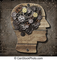 Brain model made from wood, rusty metal gears and cogs