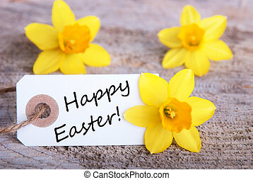 Tag with Happy Easter and Narcisse Flowers, Easter...