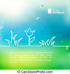 Green summer flower design Vector illustration