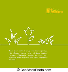 Green summer flower design. Vector illustration.